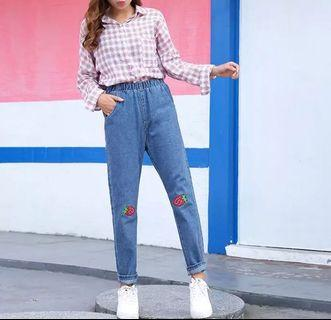ulzzang strawberry embroidered straight jeans