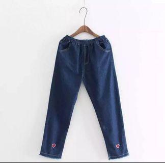 ulzzang heart design dark washed denim jeans