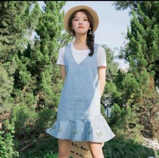 ulzzang summer denim flare dress with flowers