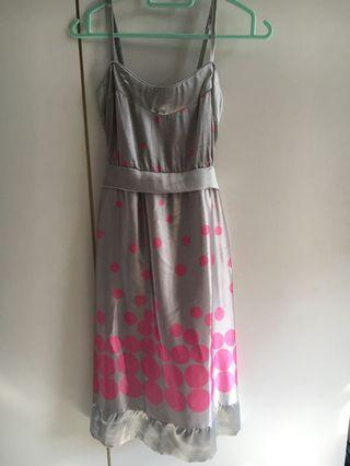 grey dress with pink dots