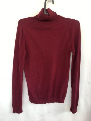MANGO Red Maroon Knitwear Turtleneck sweater Shirt Top / Blouse atasan rajut merah tua