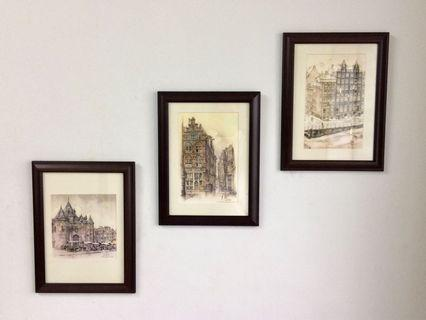 Vintage 3 Architectural Painting's Print UK