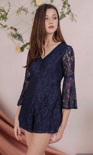Mandy Lace Romper Navy