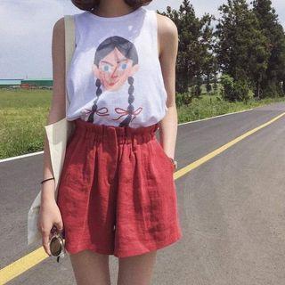 棉麻套裝 白色露背背心 紅色棉麻短褲 鬆緊