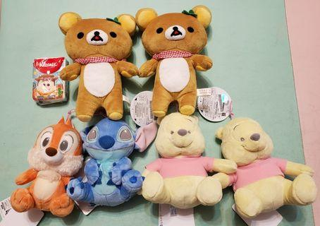 Disney 粉色系列 (Chip,Stitch,Pooh),鬆弛熊公仔