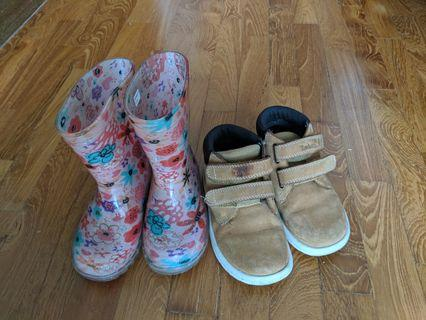 🚚 Children's Timberland boots and flashing pink wellies rain boots