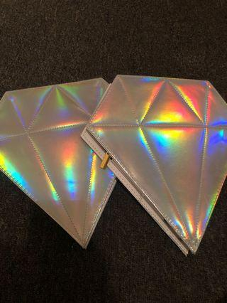 Holographic diamond bags + makeup brushed