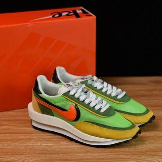 Sacai x Nike LVD Waffle Daybreak 聯名走秀款解構高端跑鞋/網紗透明 黑綠黃