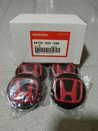 Honda Rims Caps - 58mm (Black base red H)