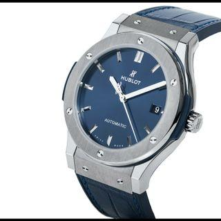 Brand New HUBLOT Classic Fusion Blue Dial 45mm Automatic Titanium watch. Model 511.NX.7170.LR. Swiss made.