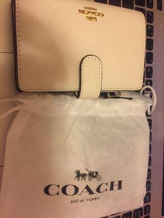 Coach Wallet 白色銀包 短 散子包