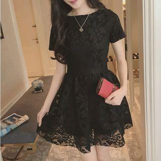 instock black lace dress