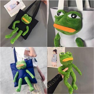 Sad frog pepe the frog 悲傷青蛙毛公仔 tote bag 側咩袋