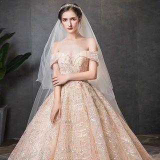2019 New Summer  Arrival Super elegant and fancy Wedding Dress