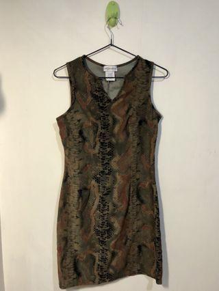 古著 個性復古蛇皮連身短裙