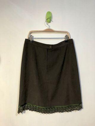古著 軍綠刺繡裙擺短裙