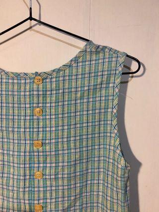 古著 水藍森林系女孩格紋連身短裙