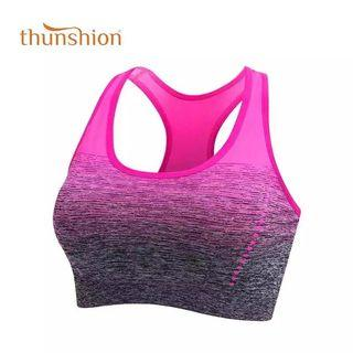 (PO) S-XL Sports Bra High Stretch Breathable Top Fitness Women Padded for Running Yoga Gym