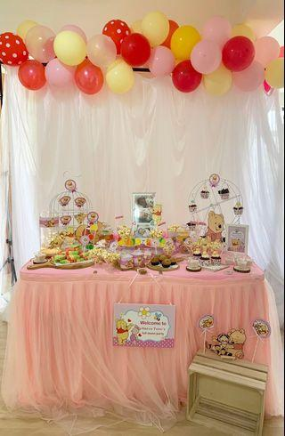 Baby Pooh Kids Themed Birthday Party Dessert Table Backdrop Set Up (customize)