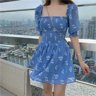 Dream in Blue Floral Bardot Dress