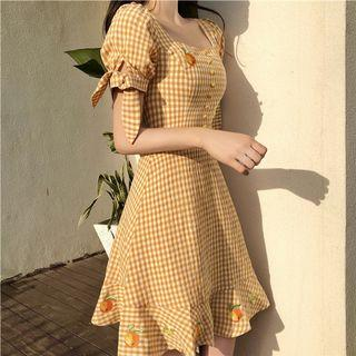 Red Flavor Gingham Dress