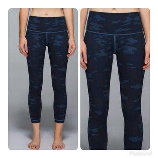 Lululemon Blue Leggings with Camo Pattern