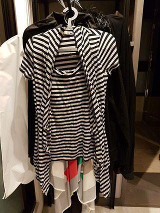 🚚 二手黑灰白色類假兩件棉上衣