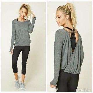 Forever 21 Gray Long Sleeves Cotton Active Wear