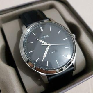 Jam Tangan Fossil Minimalist Black Leather Watch