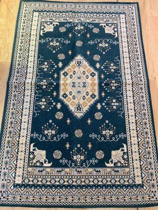 Bluish tribal motif large size carpet