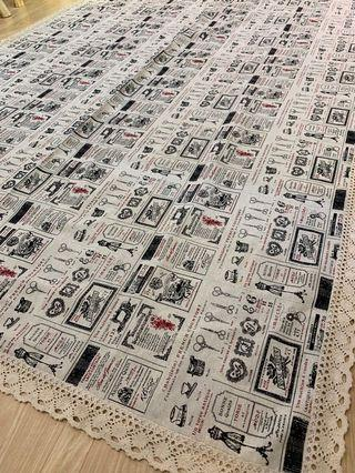 Vintage retro hemp large table  cloth dining table