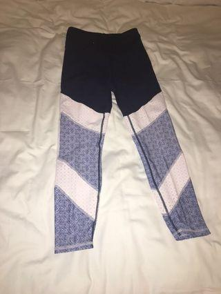 Cotton On Navy leggings with white sections and blue pattern