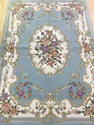 Large 140x200 cm coral blue flora carpet