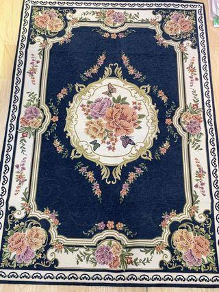 Dark blue large size country flora carpet