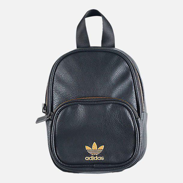 adidas Originals Black Faux Leather Mini Backpack