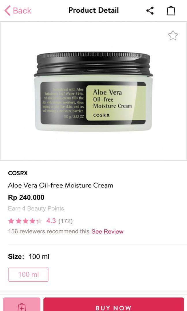 Aloe Vera oil free moisture cream ( COSRX)
