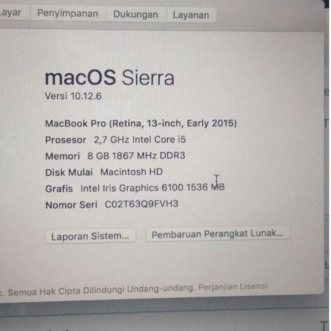 Apple Macbook Pro Retina 13 Inch MF839 Early 2015