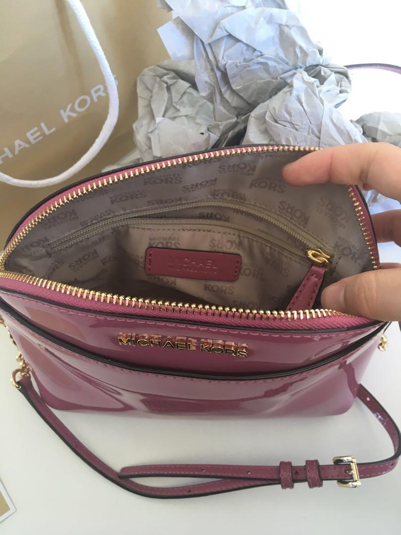 BNWT Michael Kors Crossbody Patent Leather Purse in Tulip Pink