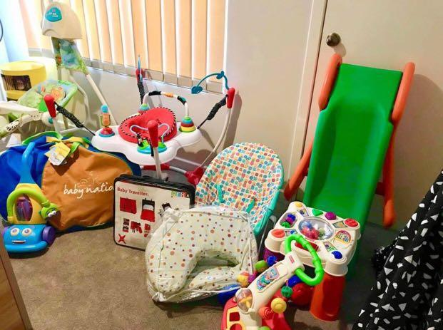 Bouncer, fisher price toy piano, playskool vacuum, nursing pillow, nappy bag, infasecure bassinet