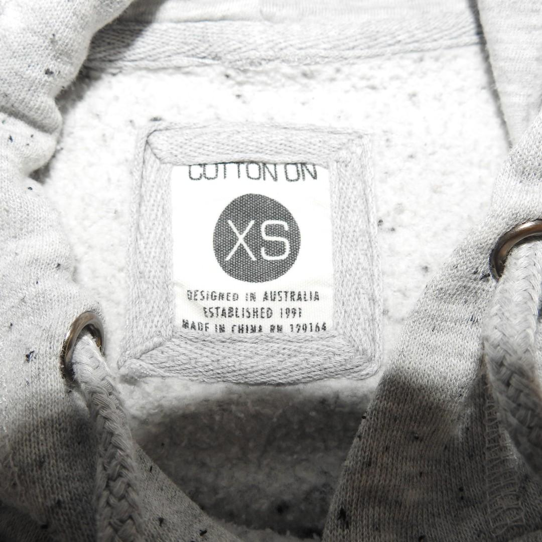 Cotton on hoodie- 'spend spend spend'/ grey, speckled