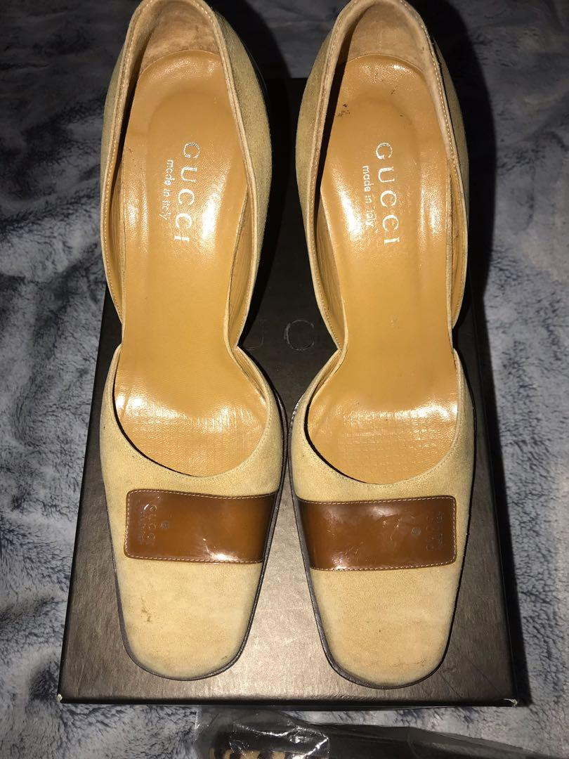 Gucci stripe leather high heels