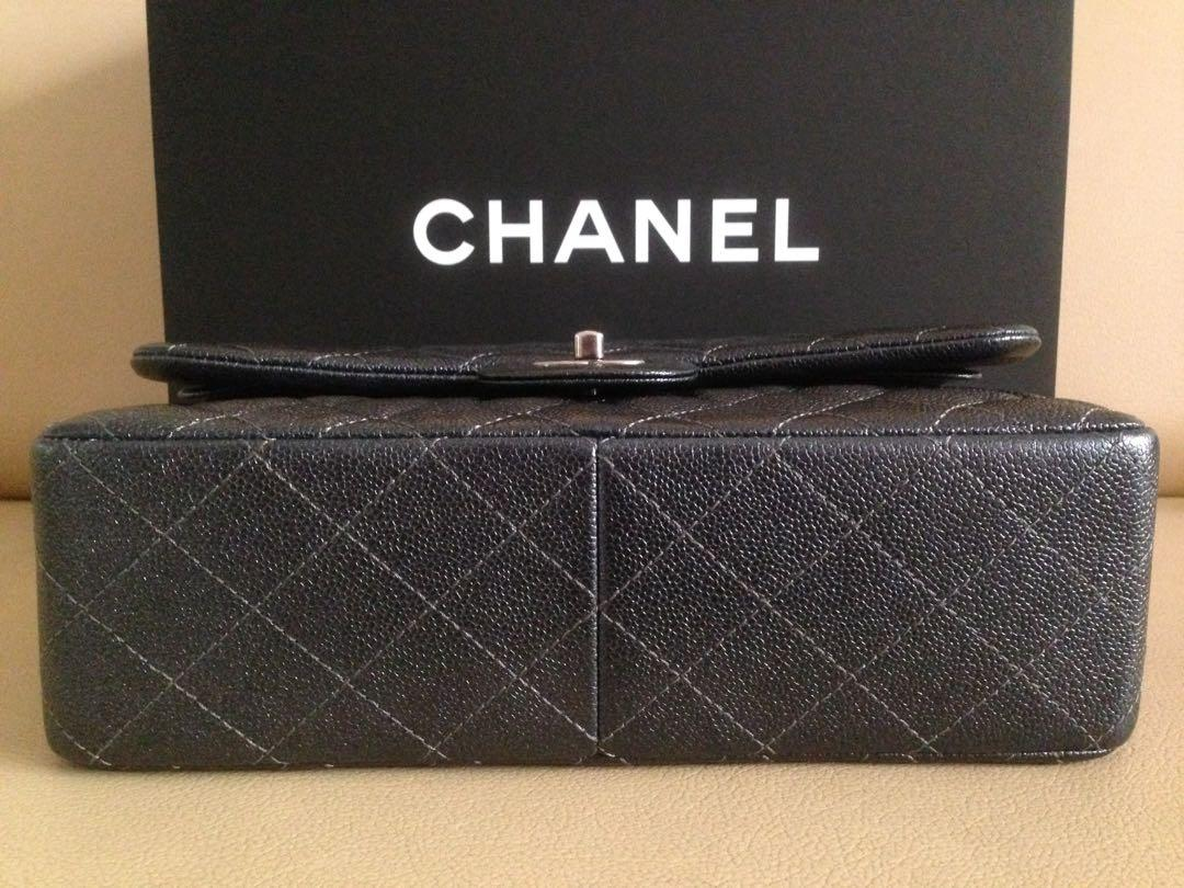 Chanel Jumbo Classic Double Flap Bag in Pearly Charcoal Caviar Authentic
