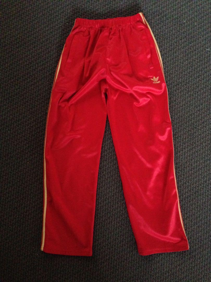 Kids adidas red and gold pants