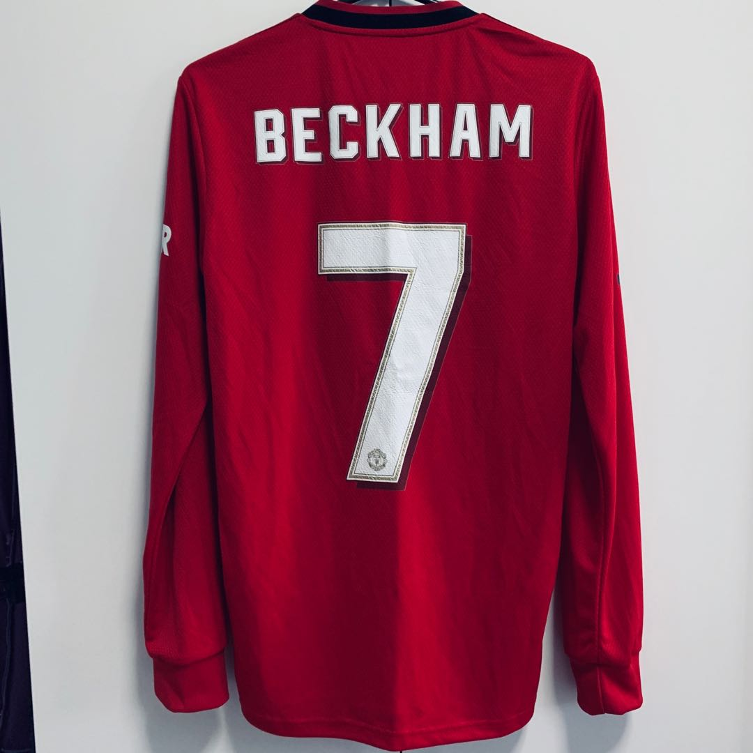 Manchester United Home Kit 19 20 Ls With Beckham Cup Font Printing