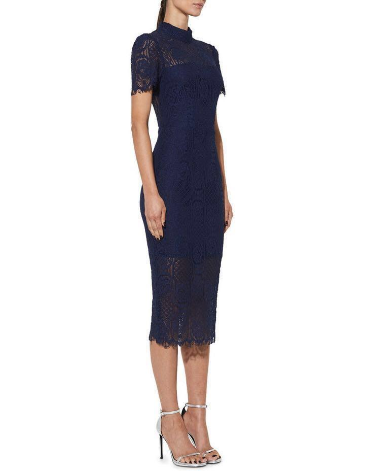MOSSMAN 'Making the Connection' Dress Navy Size 8 (brand new)