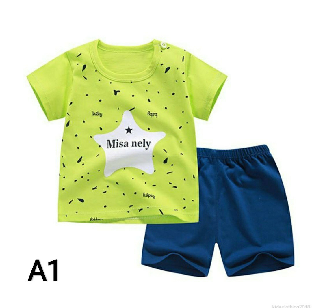 386cbec00e4a Summer Baby Boys Girls Cute Cartoon Print Cotton Short Sleeve Set T-shirt+ Shorts, Babies & Kids, Babies Apparel on Carousell