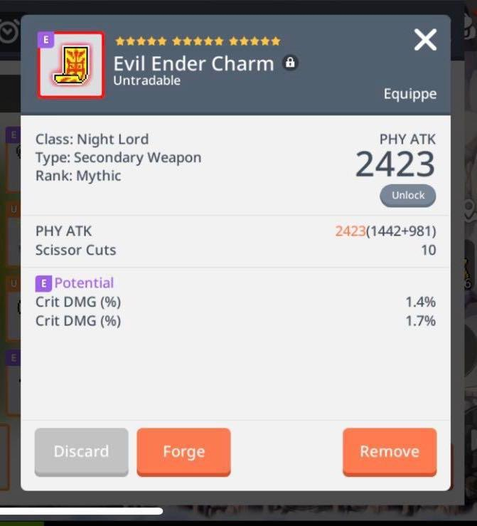 Super Rare) Mythic Secondary Weapon for Night Lord Evil