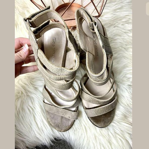 Zoe Wittner 40/US9 Leather beige brown Marika strappy women shoes heels casual