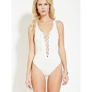 Forever 21  Lace-up Ribbed Cotton Bodysuit