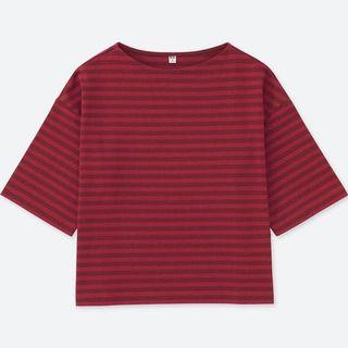 🚚 Uniqlo Women Striped Wide 3/4 Sleeve T-shirt Maroon / Dark Red